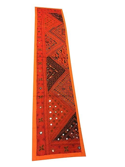 Mogul interior camino de mesa naranja espejo trabajo bordado tapiz ...