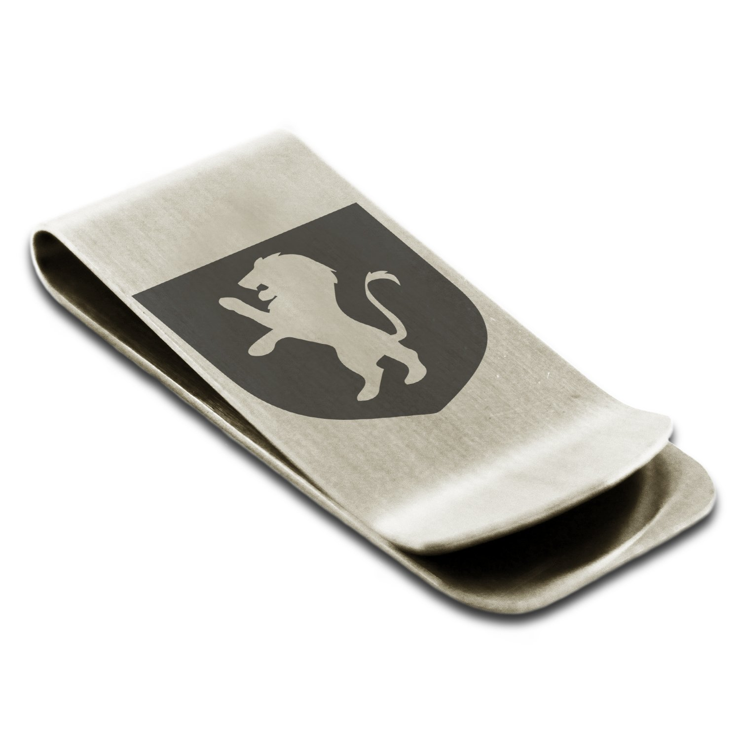 Stainless Steel Lion Courage Coat of Arms Shield Symbol Engraved Money Clip Credit Card Holder