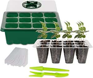 Seed Starter Tray (10 Pack) 12 Cell Seedling Plant Germination and Tool Kit for Garden Plant Seeds -Seed Starting Tray with Garden Dome Lid, Base Tray, Planting Hand Tools, Dibber, Widger & Plant Tags