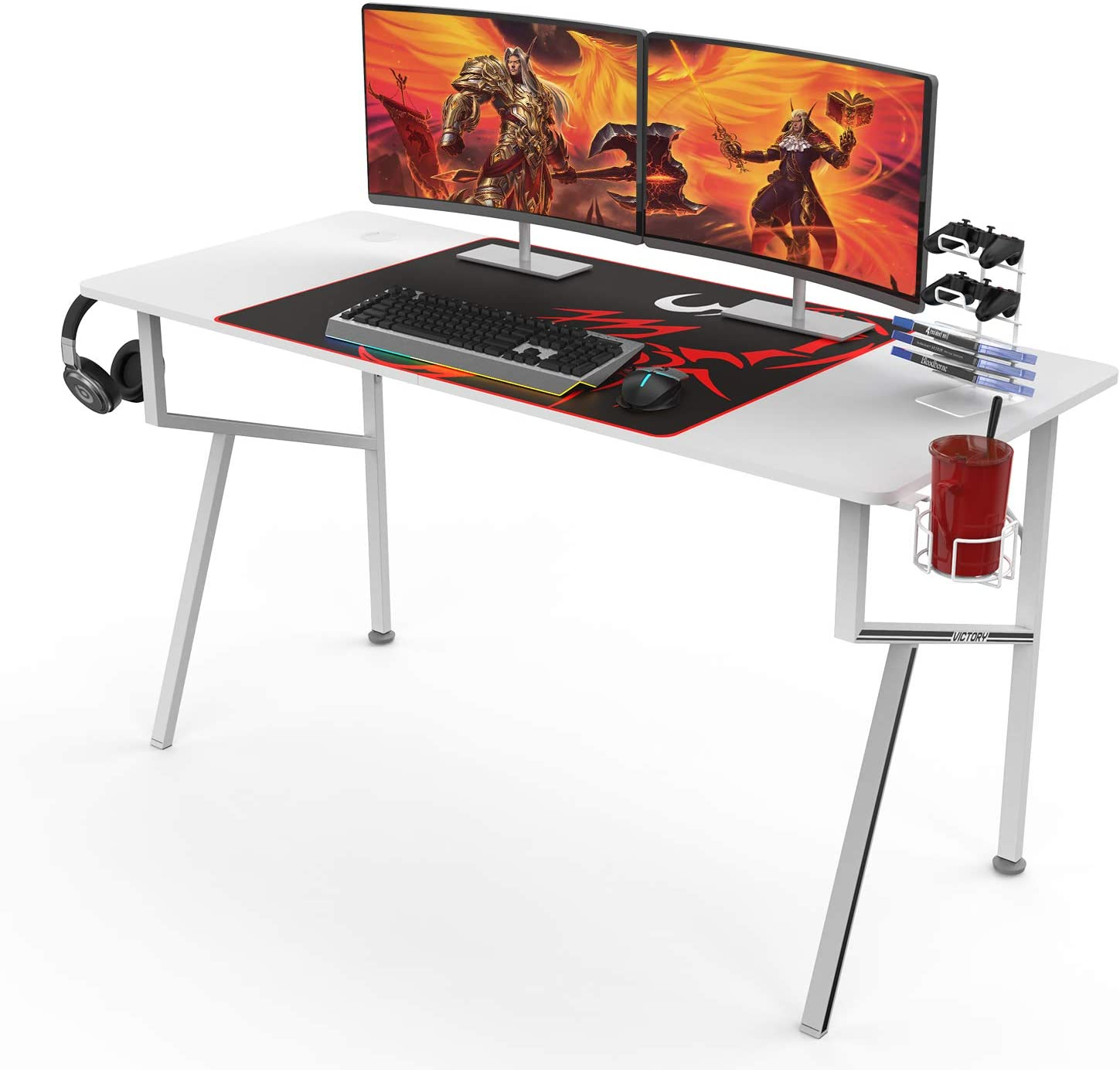 DESIGNA 55'' Gaming Desk, K-Shape Computer Desk with Free Mouse pad, Cup Holder& Headphone Hook & Controller Stand, Gamer Workstation for Home Office, White