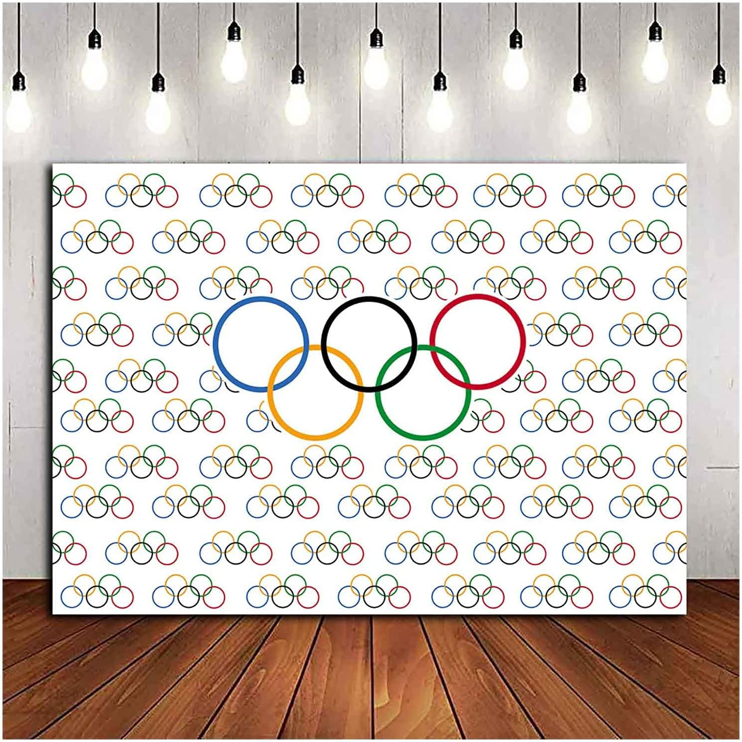 9x6FT Olympic Rings International Banner for Sports Party Photo Backdrops Olympic Sport Theme Photography Background Countries for Classroom Garden Grand Opening Sports Clubs Party Supplies