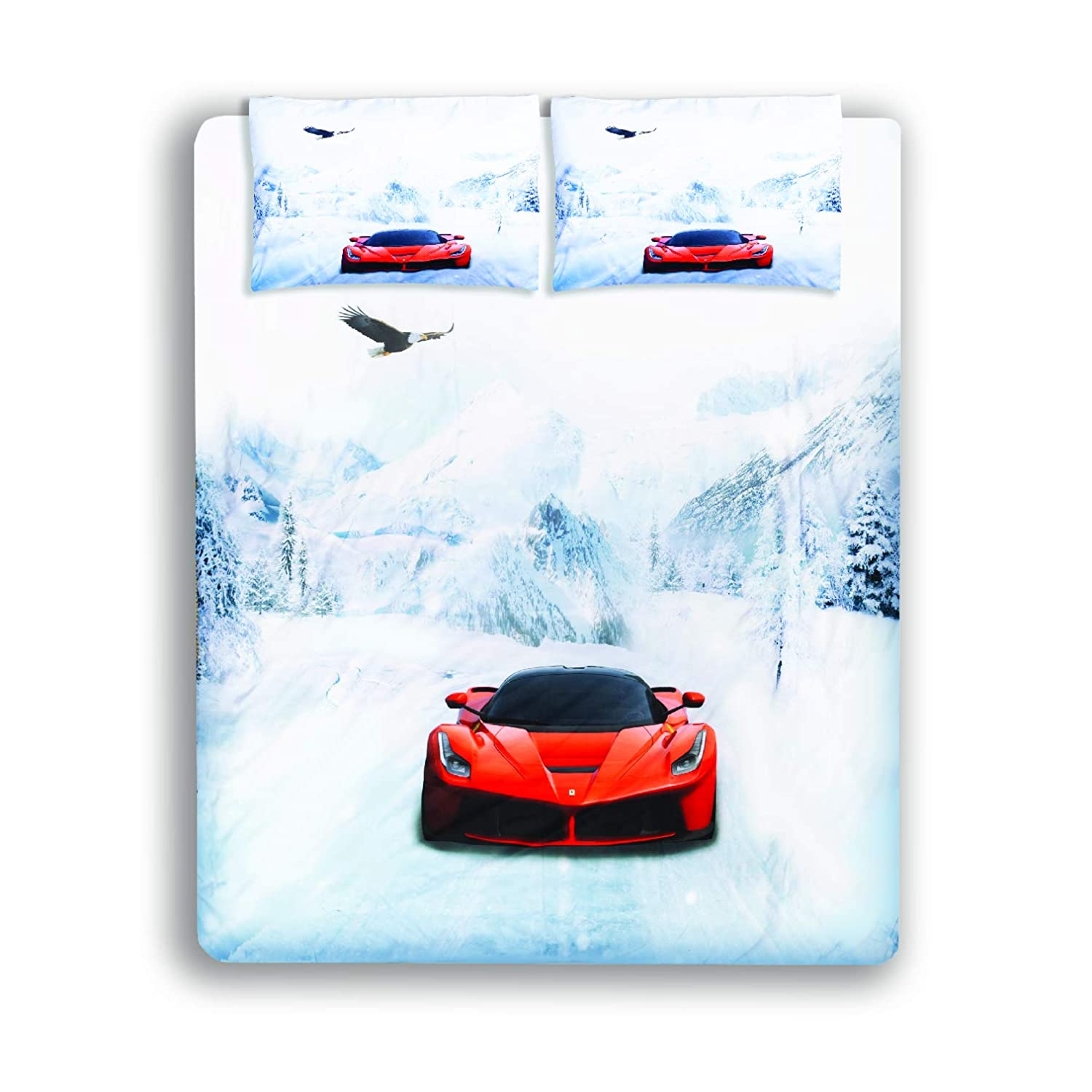 Caledonian Products Kids Race Sports car Bedding Set, 3 Piece Brushed Microfiber Duvet Cover Set for Boys Girls Teenagers King Queen Twin with Pillow Shams. Comforter not Included.