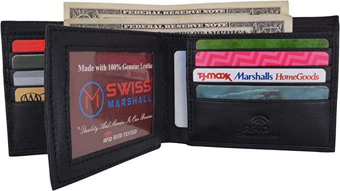 Black Mens Wallet RFID ID Credit Card Blocking Leather Slim Security Bifold