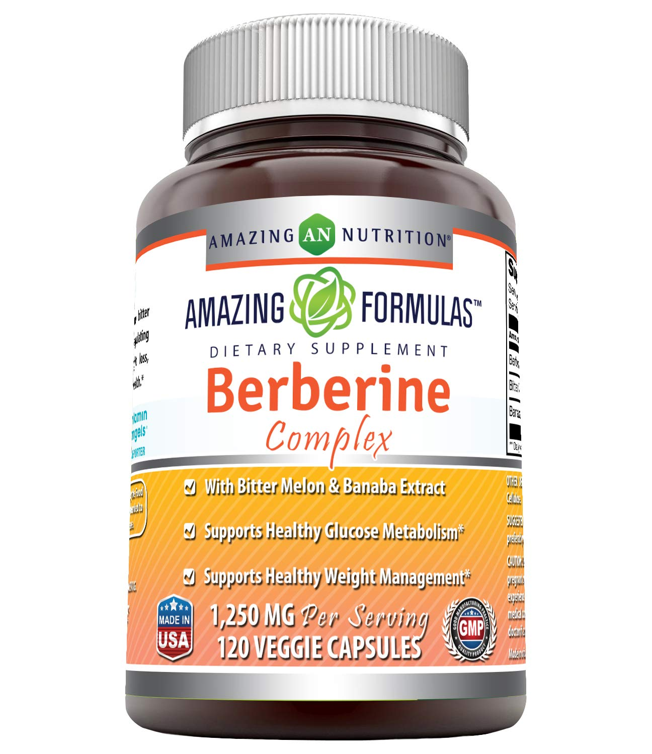Amazing Formulas Berberine Complex 1250 mg per Serving 120 Veggie Capsules Non-GMO – with Bittor Melon Banaba Extract Supports Healthy Glucose Metabolism and Healthy Weight Management