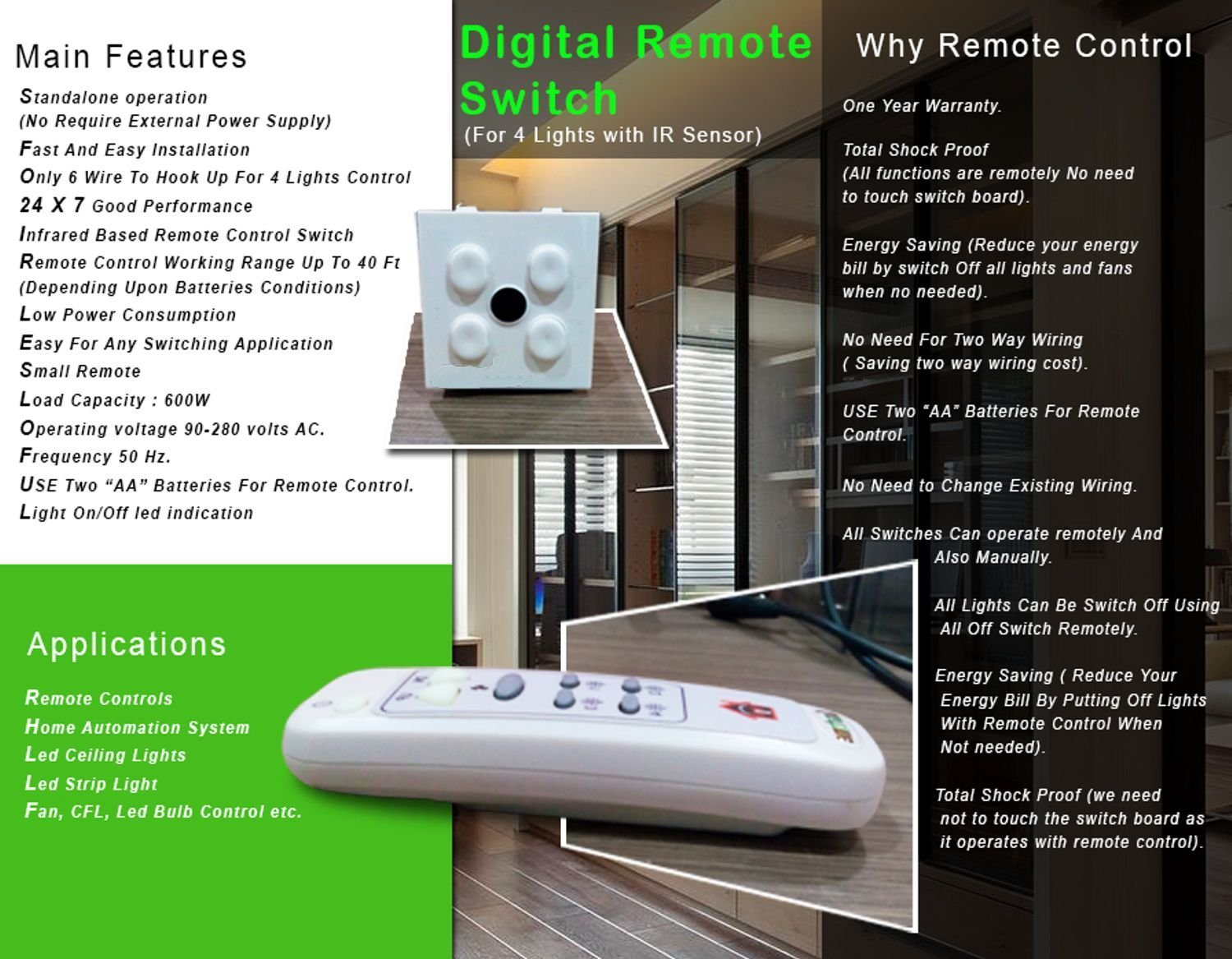 Wireless Remote Controll Switch for Lights & Fan - - Amazon.com