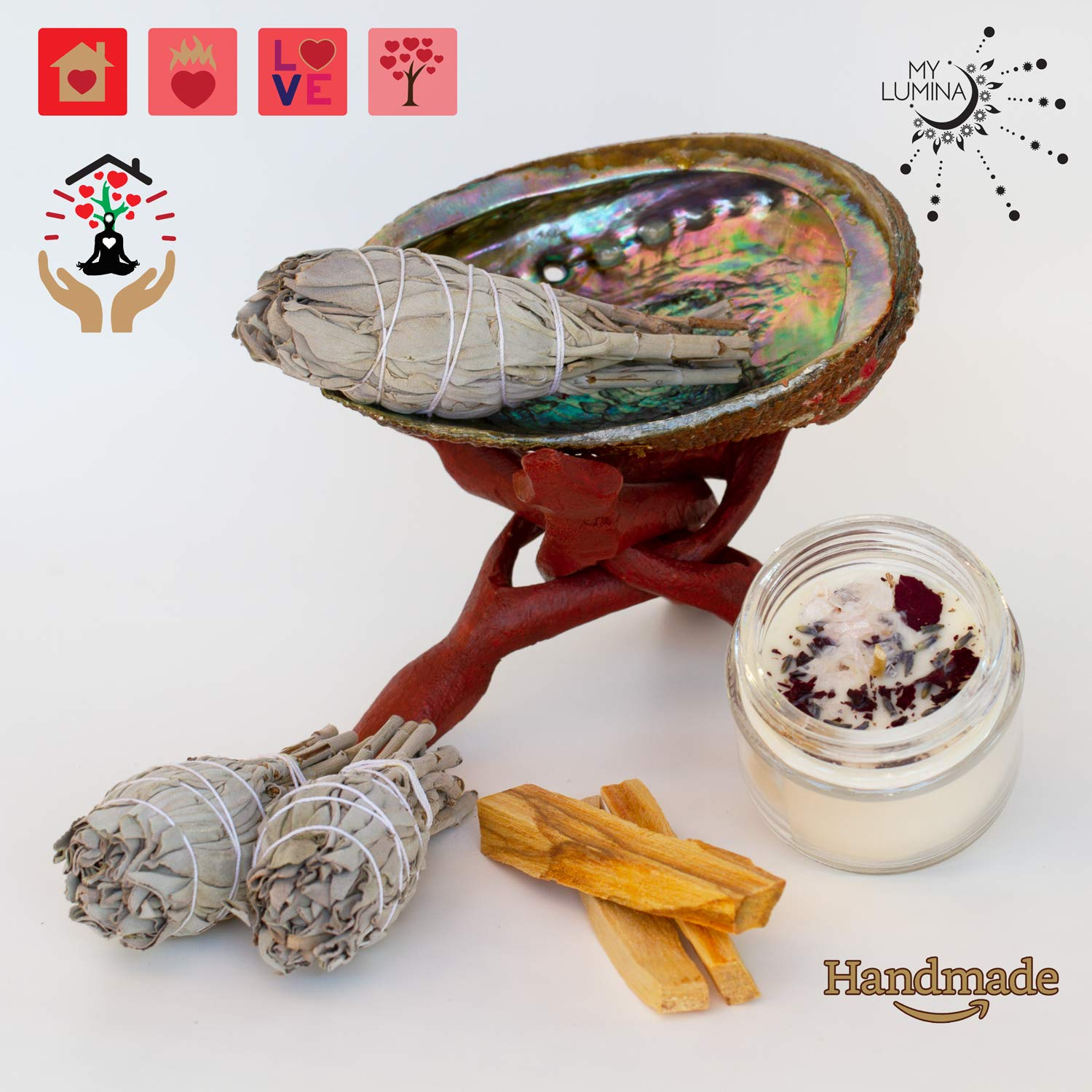 Love Cleansing and Blessing Kit - Smudging Chakra Balancing, White Sage, Palo Santo Sticks, Abalone Shell, Love Candle Healing Incense, Good Luck, Purifying, Protection, Love Attraction Kit