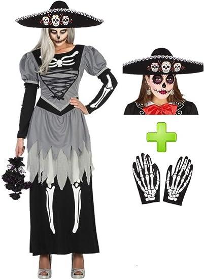 Disfraces Halloween Disfraz de Catrina Novia Mariachi: Amazon.es ...