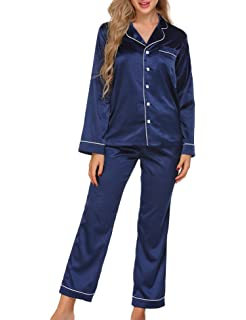Ekouaer Women s Satin Sleepwear Long Sleeve Loungewear Two Piece Pajama Set  S-XXL 4b3fb0f0b