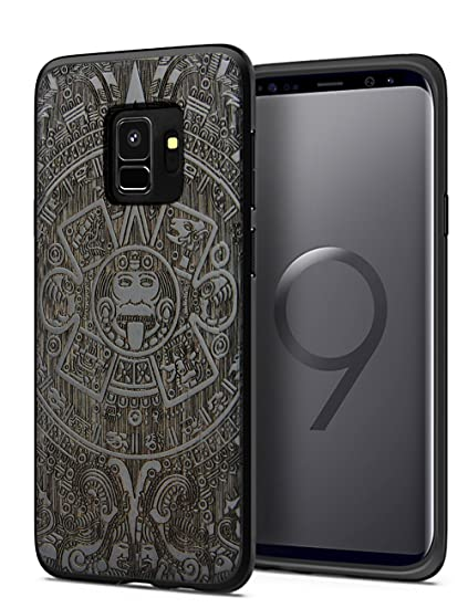 quality design 99930 9c573 Galaxy S9 Case Wood, Real Wood Unique Engraving Pattern Back Shell  Shockproof Absorbing Slim Heavy Duty Durable Hybrid Bumper Impact  Protective Cover ...