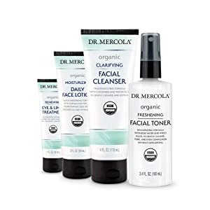 Dr. Mercola Organic Daytime Skincare Set non GMO, Gluten Free, Soy Free, USDA Organic and Organic Leaping Bunny Certified