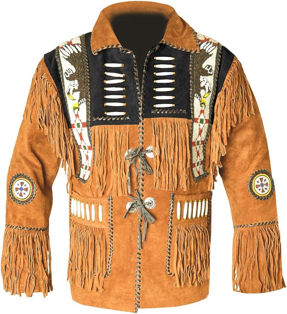 MSHC Western Cowboy Mens Fringed Suede Leather Jacket D7 V2 XXS-5XL Blue