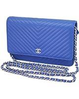 Chanel Chevron V Stitch Blue Leather Chain Wallet A33814