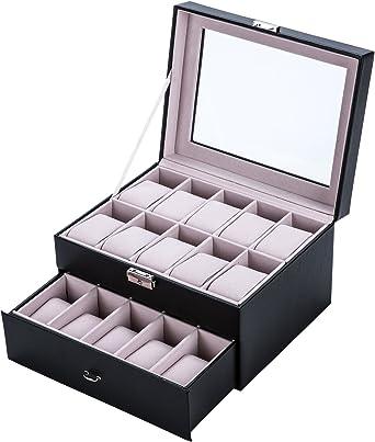 Sfeomi Caja para Relojes 20 Estuches para Relojes y Joyeros 28 x 21 x 15 cm Organizador de Cuero de Relojes como Regalo Expositor de Relojes para Tienda: Amazon.es: Relojes