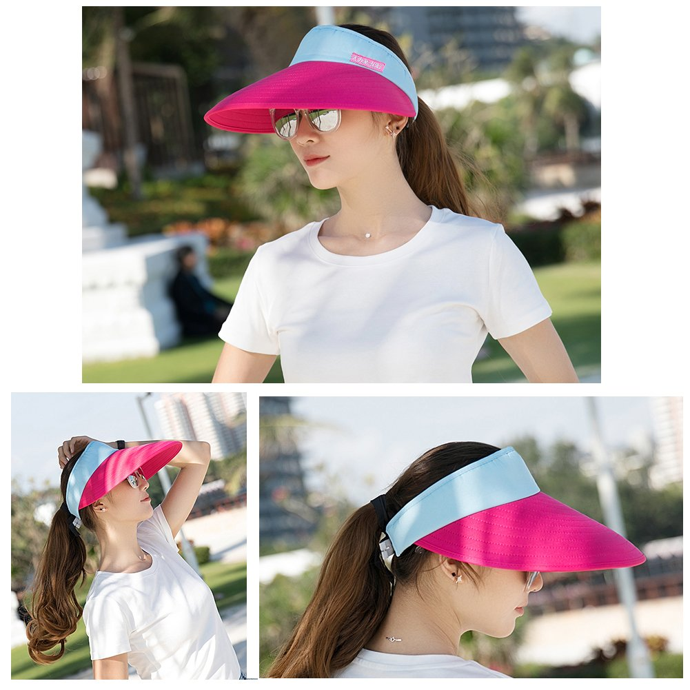 cc004453ac3 Sun Visor Hats Women 5.5 Large Brim Summer UV Protection Beach Cap CAMOLAND