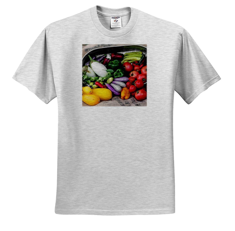 3dRose Stamp City Garden Photograph of Garden Vegetables Spilling Out a Metal tin onto Burlap - T-Shirts