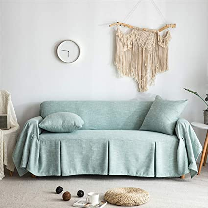 Fantastic Couturebirdal Linen Couch Cover 1 Piece Soft Sofa Slipcover Ruffled Solid Couch Cover For Living Room Sage Green 78X102 Gmtry Best Dining Table And Chair Ideas Images Gmtryco