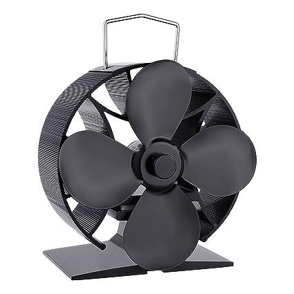 Ventilador de la estufa de calor Ventilador de la estufa de madera de 4 hojas Ventilador