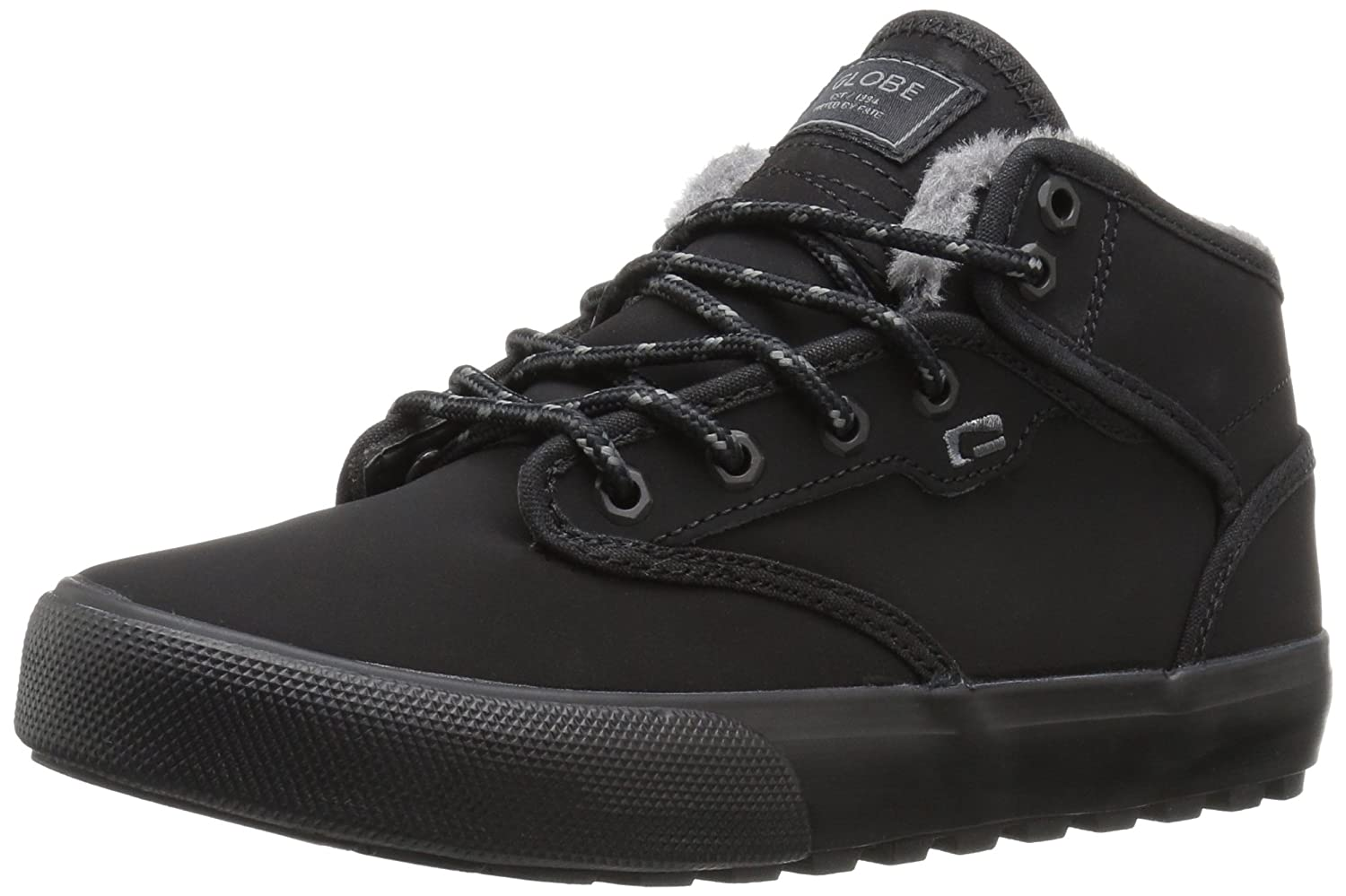 Globe Men's Motley Mid Skate Shoe 8 D(M) US|Black/Black Faux Fur