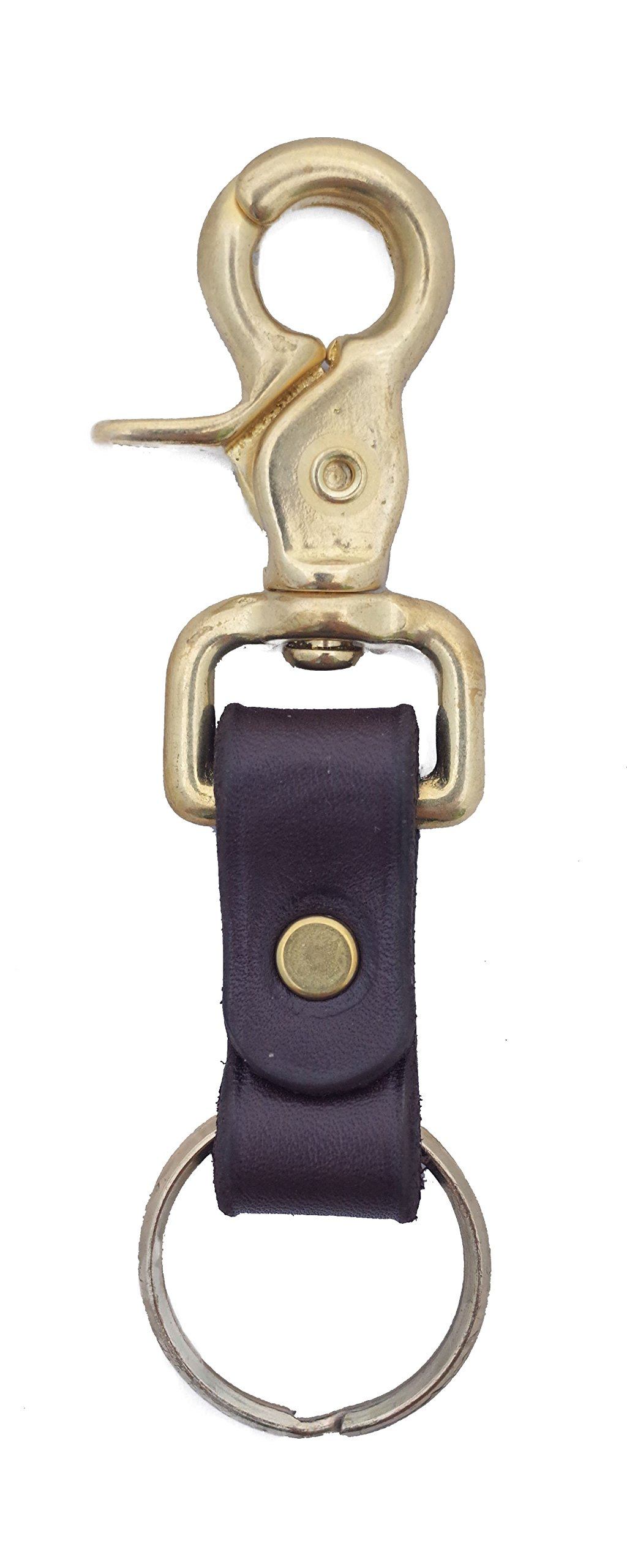 Genuine Leather Key Chain Ring Fob Solid Brass Fixures, Attaches to Belt Loops, Made in the USA By Amish Craftsman - Great Gift for Dad, Uncle, or Grandpa
