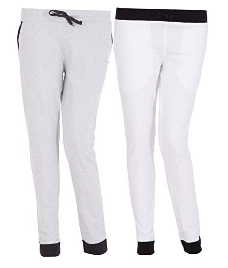 search for official uk store attractive colour American-Elm Pack of 2 Women's Cotton Track Pants-White ...