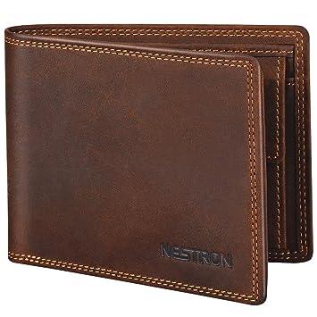 258efff3c7b98c Geldbörse Herren mit Doppelnaht und RFID Schutz, Portemonnaie Männer aus  Vintage-Echtleder, Geldbeutel