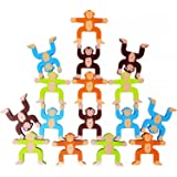 Toyssa Wooden Stacking Games Monkeys Interlock Toys Balancing Blocks Toddler Educational Games for 3 4 5 6 Years Old Kids Infants Teenages Younth and Adults (16 pieces)