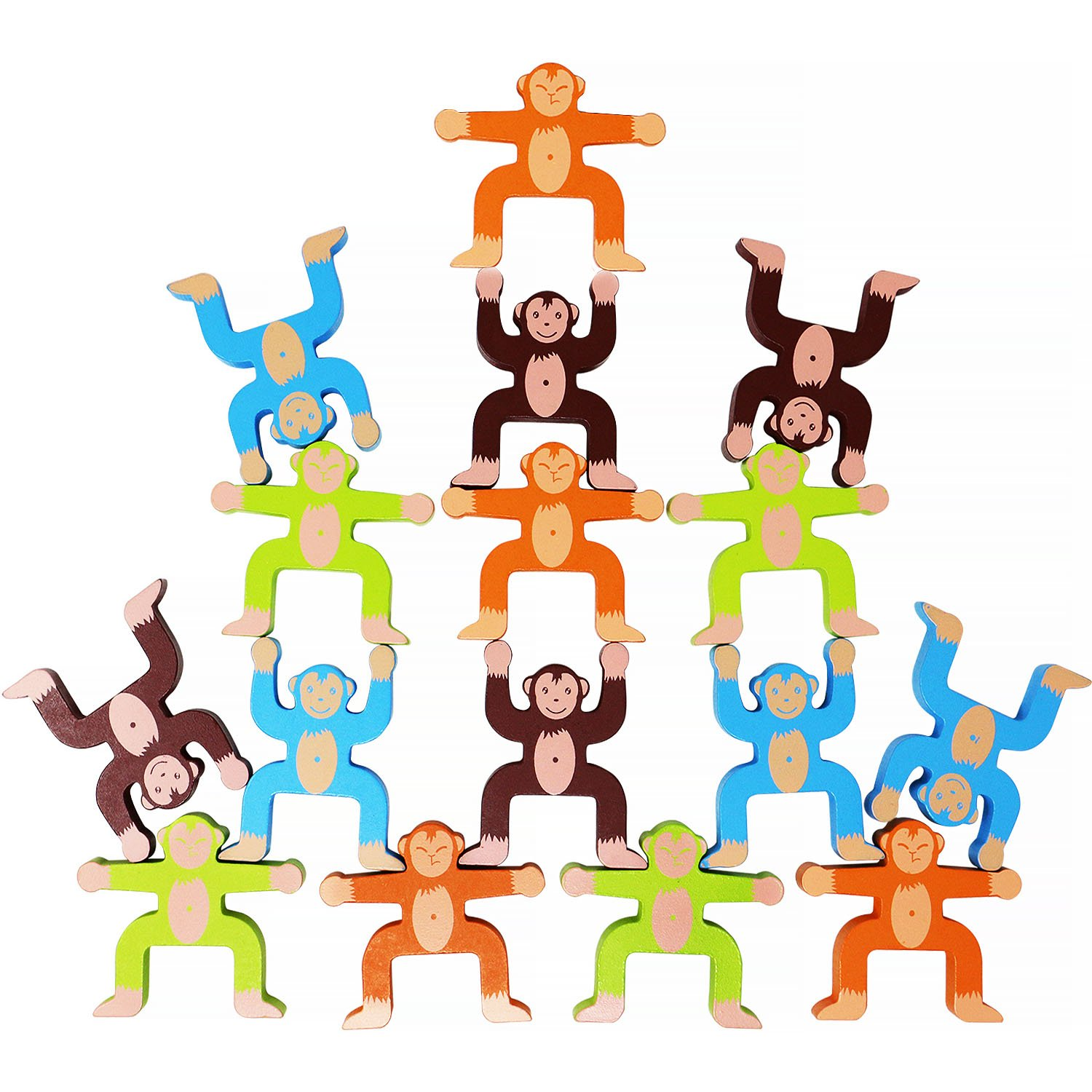 Toyssa Wooden Stacking Games Monkeys Interlock Toys Balancing Blocks Games Toddler Educational Toys for 3 4 5 6 Years Old Kids Infants Adults 16 Pieces by Toyssa