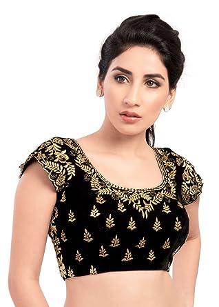 7e796d0fd2857a Amazon.com: Stunning Black Velvet Ready-made Indian Saree Blouse - KP-46:  Clothing