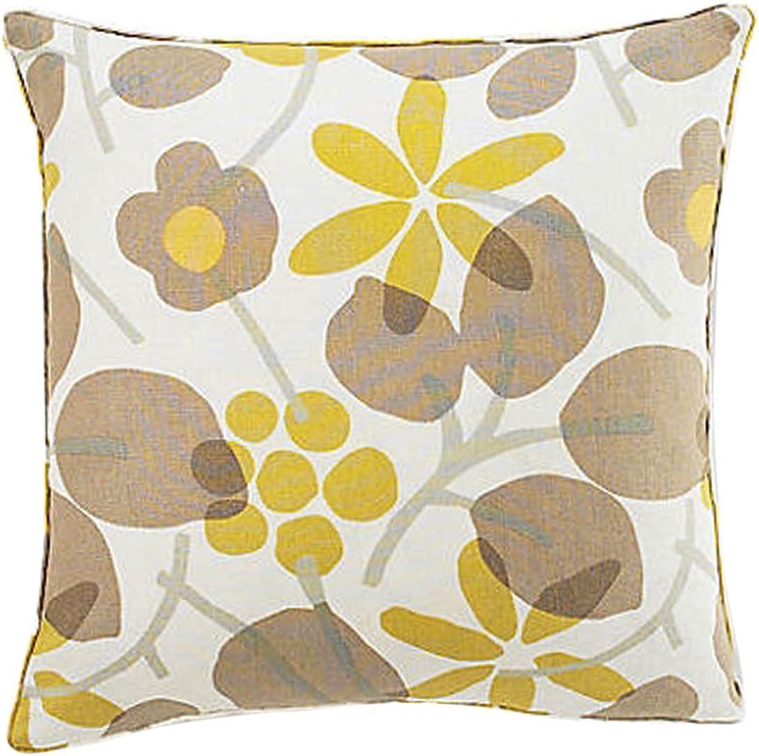 Jiti Bethe Flower Throw Pillow, Linen, 20-Inch Square, Light Brown