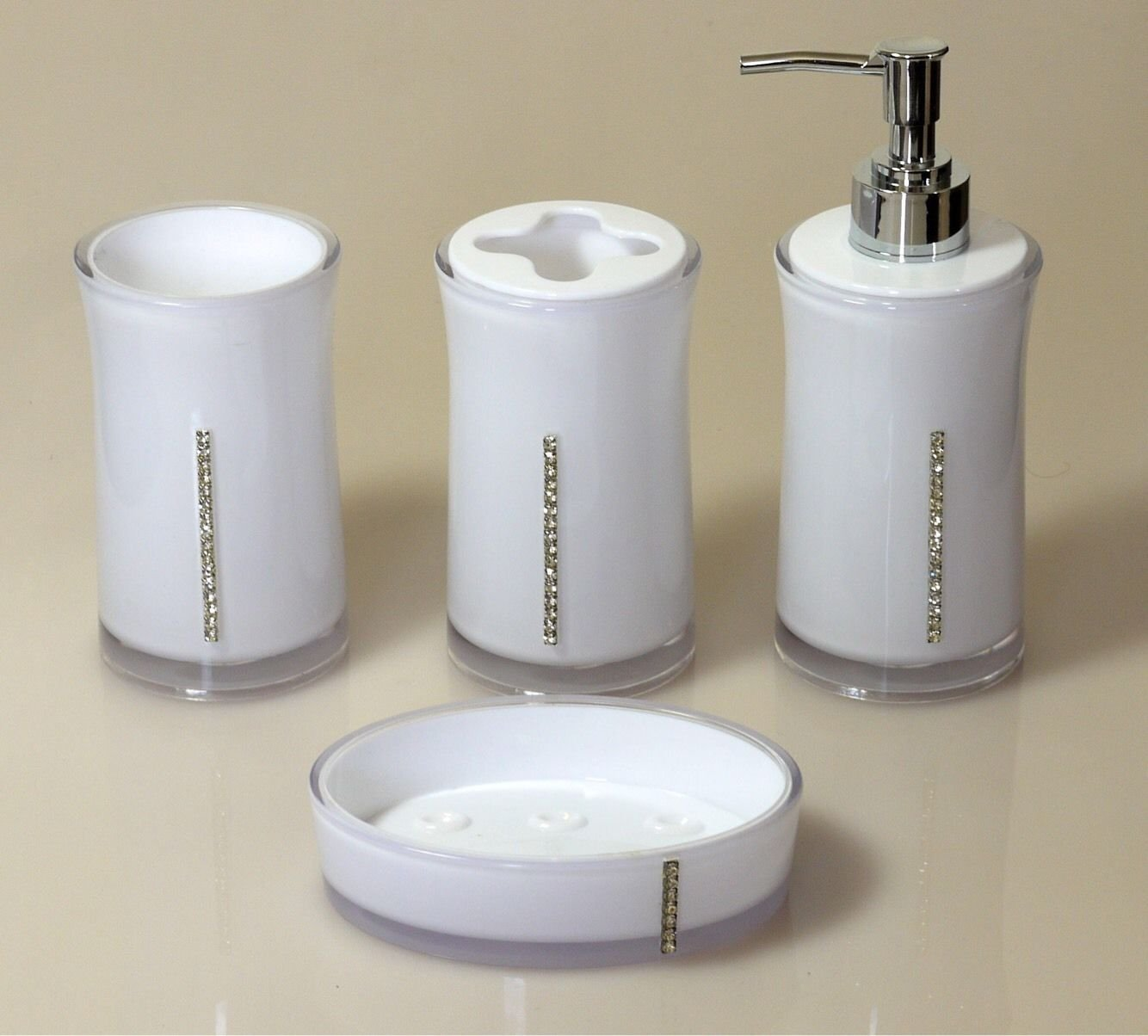 4Pc Diamante Bathroom Set Soap Dish Dispenser Tumbler Toothbrush ...