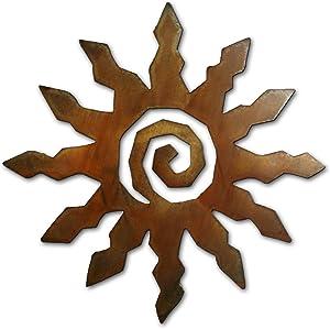 Spiral Sun - Twelve Points Metal Indoor/Outdoor Wall Art - 18 inches - Rust Finish - Made in Arizona, USA