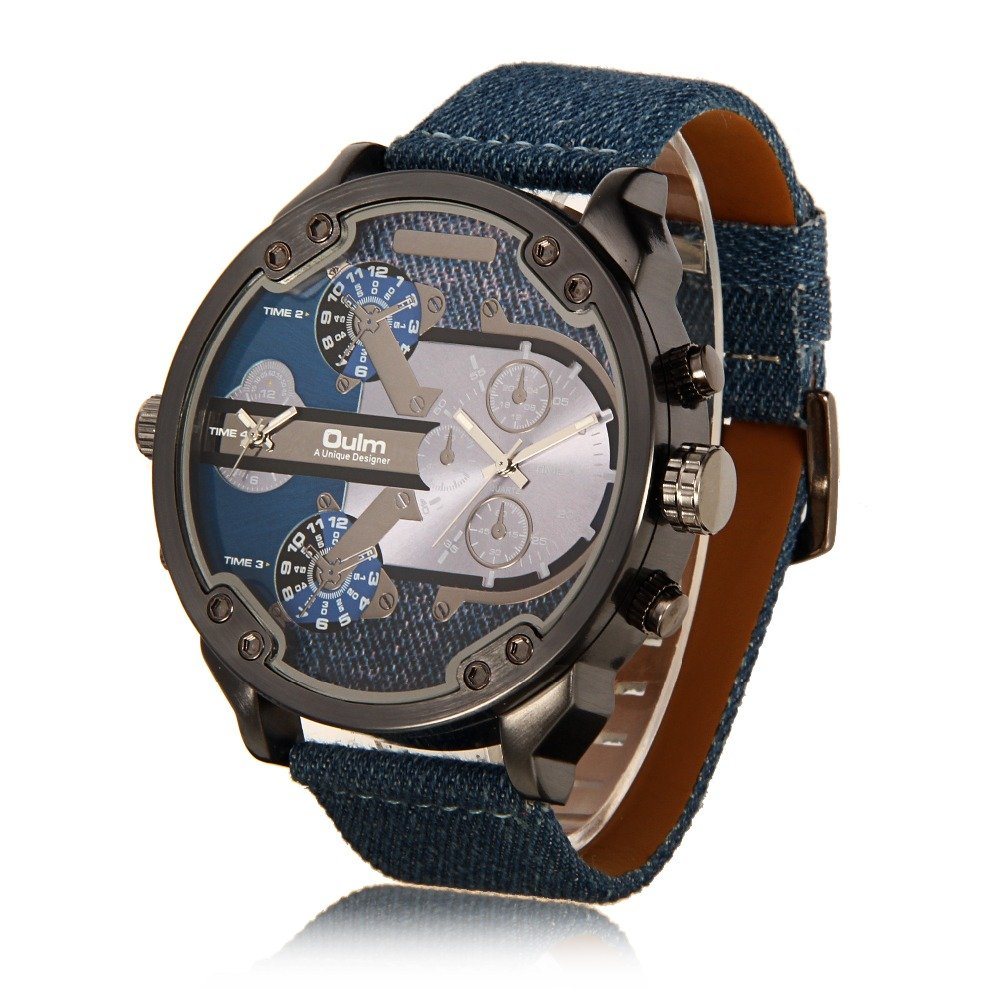 Amazon.com: Luxury oulm Brand Military Watches Men Quartz Analog Leather Clock Men Sports Watches Army Watch Relogios Masculino Promotion: Watches