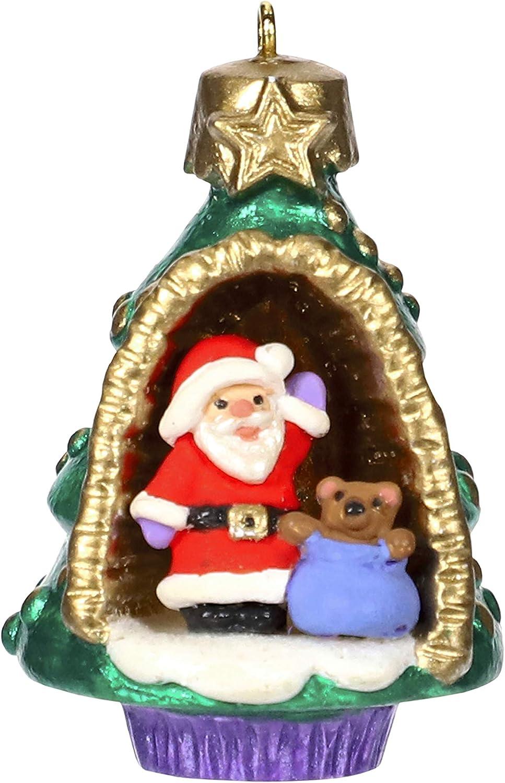Hallmark Keepsake Mini Christmas Ornament 2019 Year Dated A World Within, Santa and Teddy Bear in Tree Miniature, 1.56
