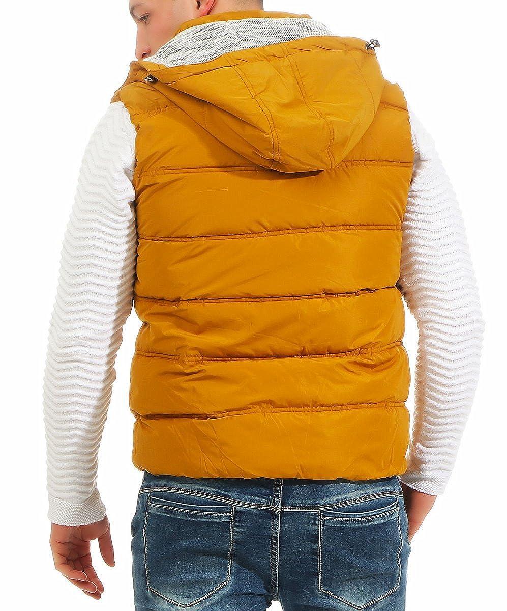 18ab15b9fc055f Fashion4Young 4452 Herren Weste Steppweste Kapuze Jacke Outdoor Bodywarmer  Übergangsjacke Streetwear
