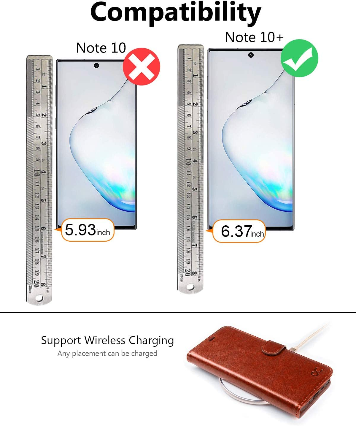 OCASE Galaxy Note 10 Plus Wallet Case, Note 10 Plus 5G Leather Flip Case with Card Holder Kickstand and Magnetic Closure, TPU Shockproof Phone Cover for Samsung Galaxy Note10 Plus 6.8 Inch (Brown)