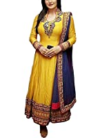 Palli Fashion Women's Embroidered Anarkali Suits, Yellow, 42