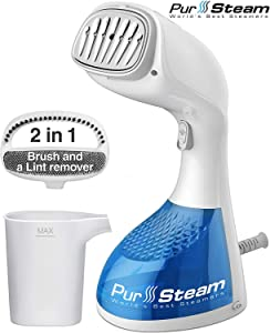 PurSteam 1400-Watt Steamer for Clothes, Perfect for sterilizing and disinfecting, Wrinkle Remover, Fast Heat-up, Large Detachable Water Tank, Exact Measure Filler Cup and 2 in 1 Brush Included