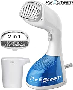 PurSteam 1400-Watt Steamer for Clothes with Pump Steam Technology, Portable Handheld Garment Fabric Wrinkles Remover, 30s Fast Heat-up, Auto-Off, Large Detachable Water Tank