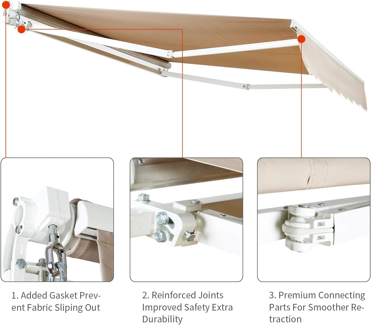 Aluminum Frame Crank Handle Aclumsy 12x8.2 Patio Awning Retractable Sun Shade Cover Outdoor Patio Canopy Beige