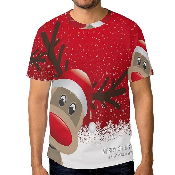 f3c171963129 Amazon.com  DEYYA Men 3D Print Christmas Reindeer Red Graphic Tee ...