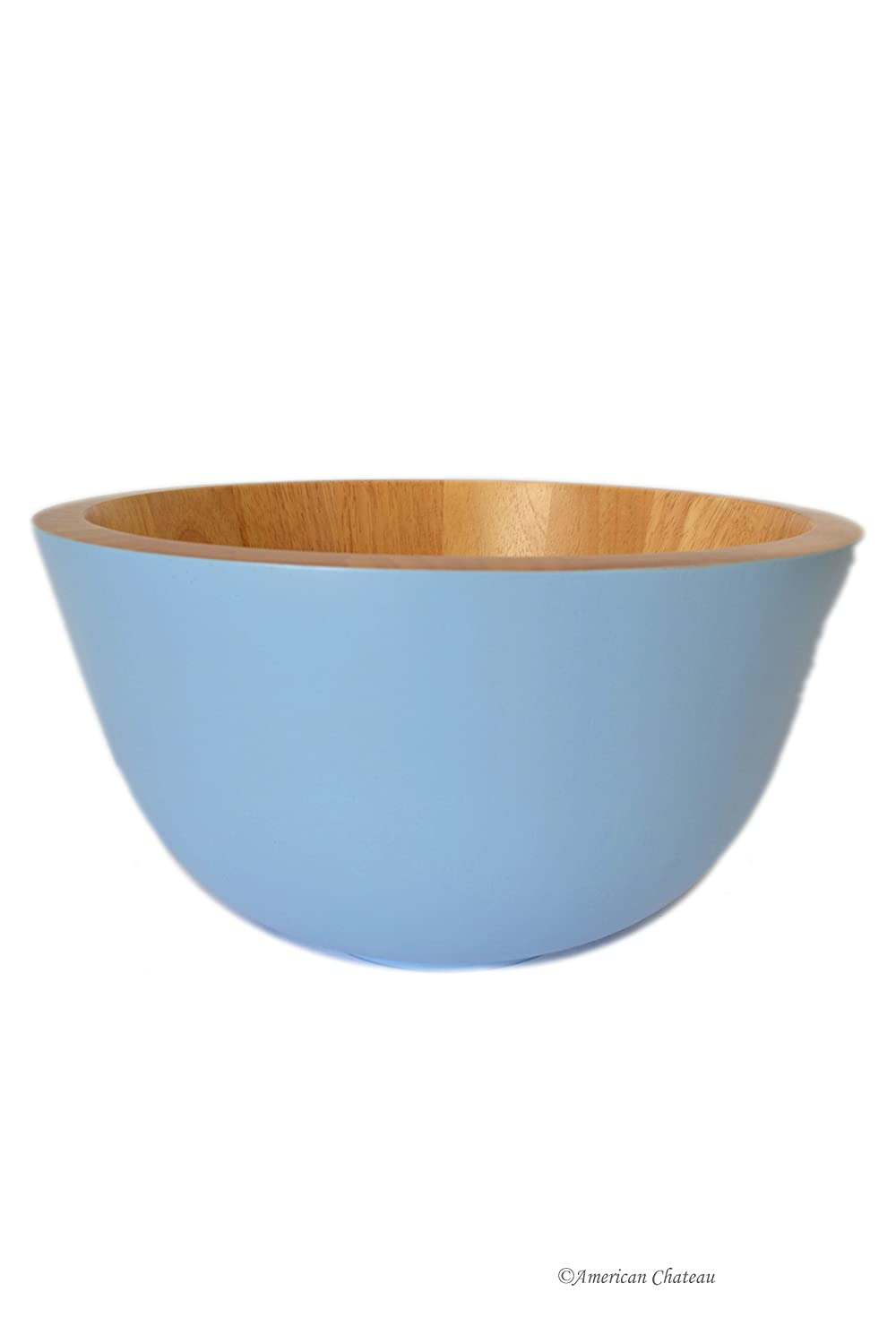 Hand Made Baby-Blue Round Large Wood Salad Serving Food Fruit Bowl Dish American Chateau