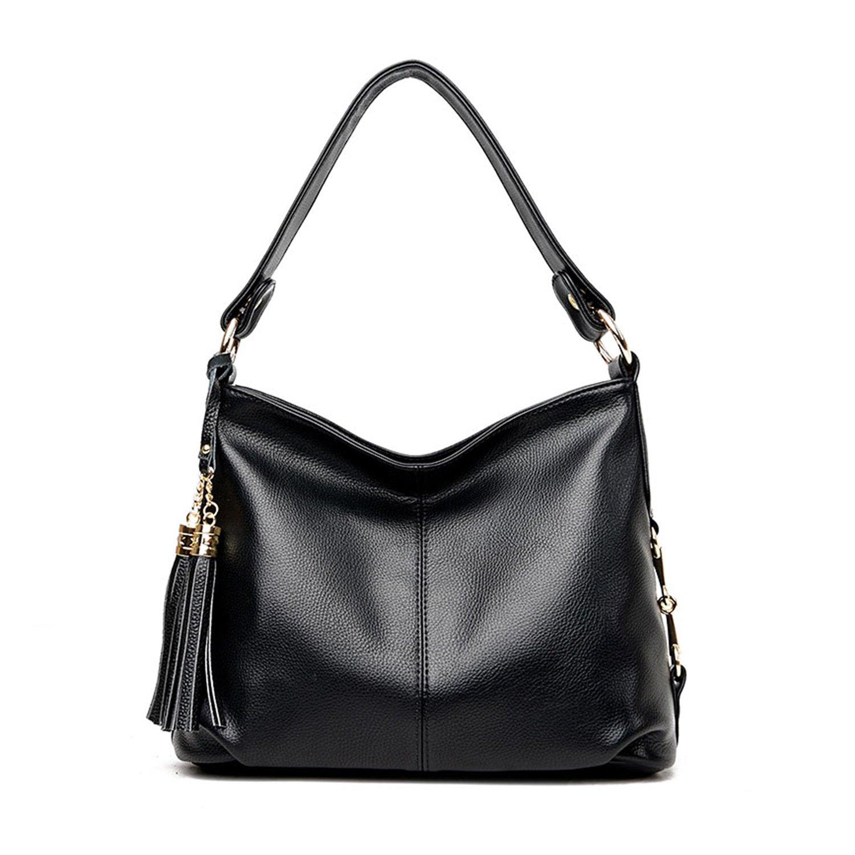 Amazon.com  PU Leather Hobo Handbag Top Handle Shoulder Bag Tote Bags with  Tassel Crossbody Bag for Women (Black)  Shoes 5c08bffc3af51
