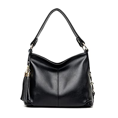 5222ef8ef5de Amazon.com  PU Leather Hobo Handbag Top Handle Shoulder Bag Tote Bags with  Tassel Crossbody Bag for Women (Black)  Shoes