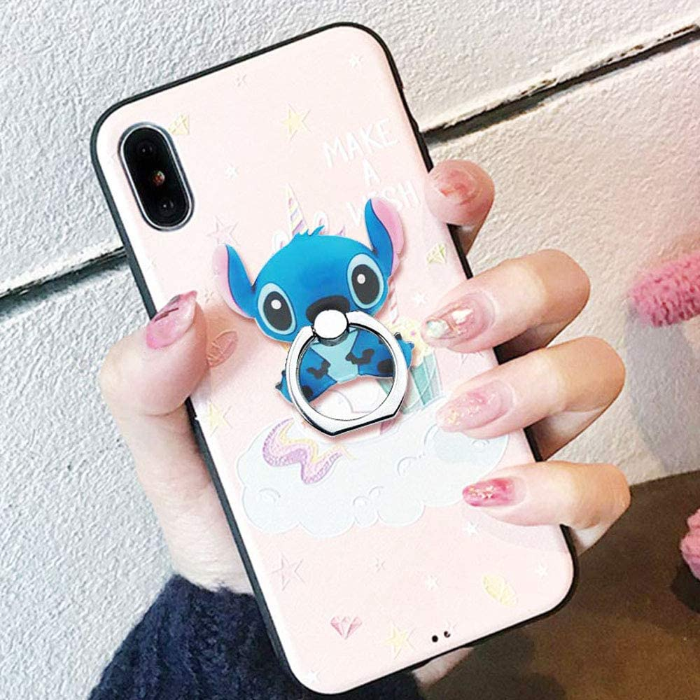 Phone Ring Disney Cartoon Mickey Universal 360/° Rotating Phone Buckle Tablet Finger Grip Ring Stand Holder Kickstand Tablet Compatible with iPhone 6S SE 7 8 Plus X Android iPad TM ZOEAST Stitch