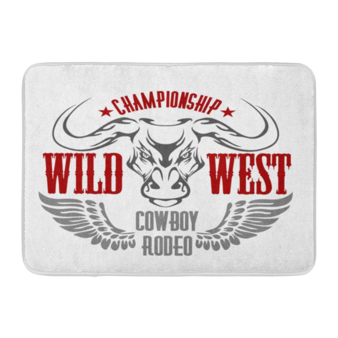 Aabagael Bath Mat Wings Red Western Wild West Championship Cowboy Rodeo Vintage Artwork for Wear Texas America Bathroom Decor Rug 16'' x 24''