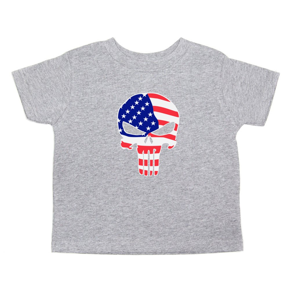 Crazy Baby Clothing American Flag Punisher Skull Toddler Short Sleeve T-Shirt