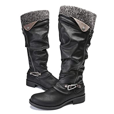 e6bab5ef1e058 gracosy Leather Knee Boots, Women's Knee High Boot Flat Heel Zipper Buckle  Riding Boots Black