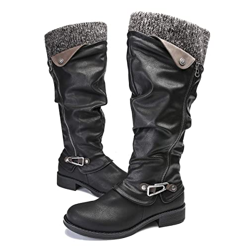 610423a5c2f gracosy Knee High Boots Women s Leather Ankle Riding Boots Ladies Low Flat  Heel Closed Toe Fur