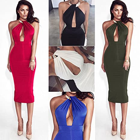 b39ffc77c84 Tomblin Women s Sexy Chocker Halter Cut Out Backless Bodycon Bandage Club  Party Evening Midi Dress at Amazon Women s Clothing store