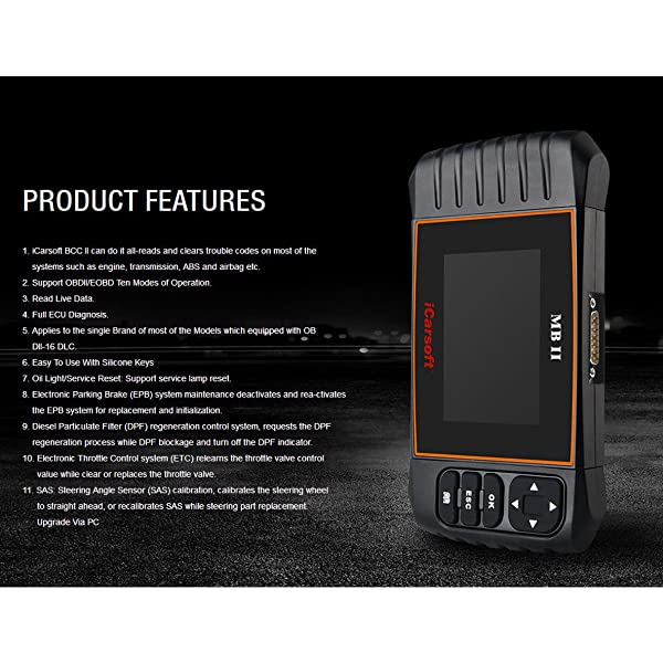 iCarSoft MB II is a Diagnostic Scan Tool which can reads and clears codes and reads data streams of most systems